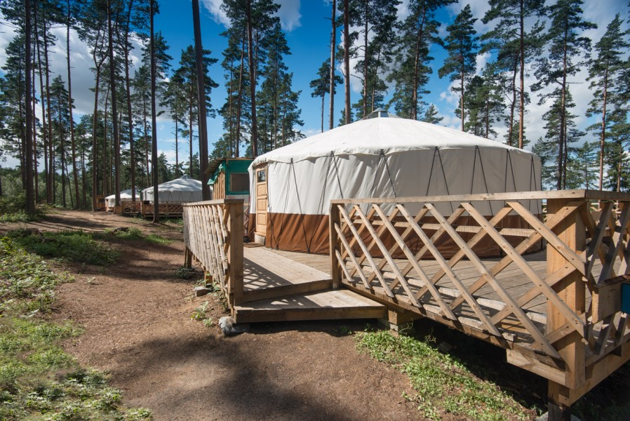 The new white yurts are waiting for holiday-makers.